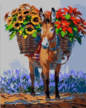 Donkey carrying Flowers