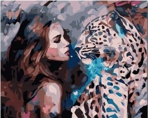 Woman and Leopard