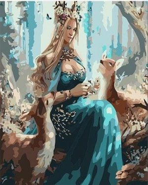 Woman and Deer in the Forest