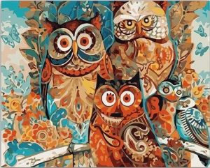 Abstract Owl Family