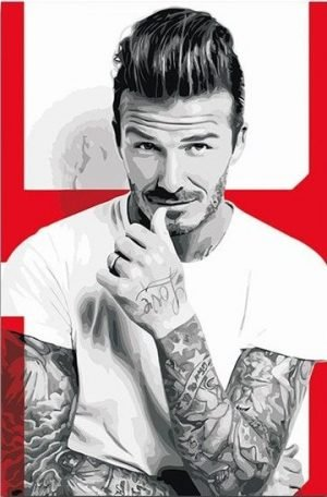 Red and Grayscale David Beckham
