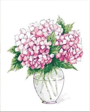 Pink Hydrangeas in Simple Vase