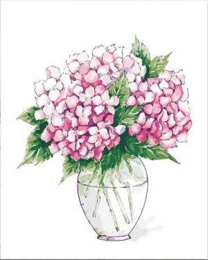 Pink Hydrangeas in Simple Vase