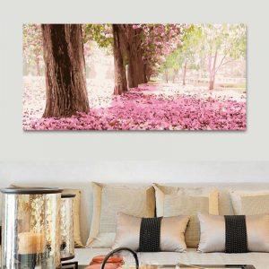 Pink florals on forest ground (50cm x 100cm)