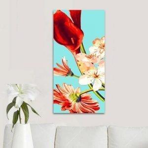 Various red florals (40cm x 80cm)