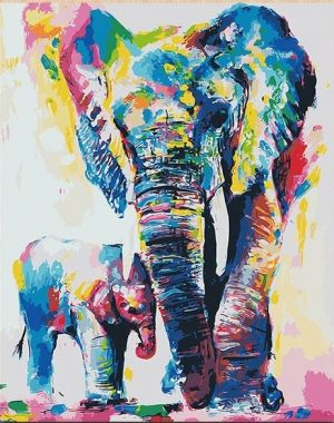 Colorful Abstract Elephant and Child