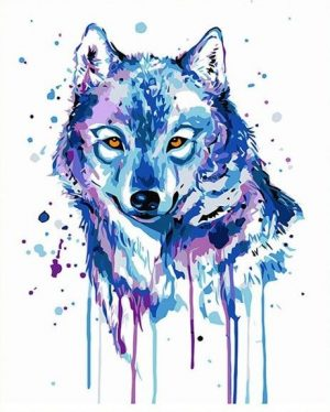 Abstract Blue Wolf