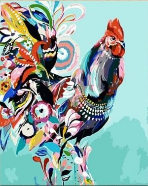 Abstract Colorful Rooster