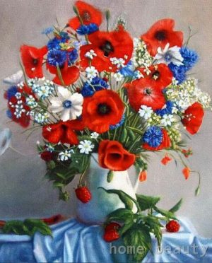 Red, blue white flowers in a vase
