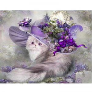 Cat in a purple hat