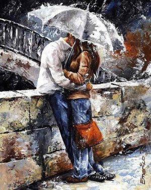 Lovers by a bridge in the rain