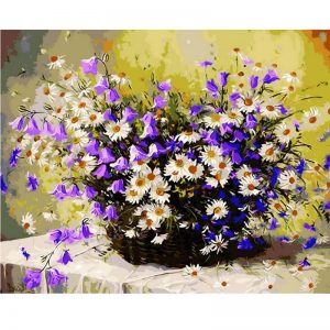 Bluebells and Daisies in Vase