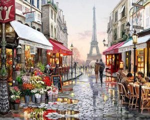 Brick Road and Cafes in Paris