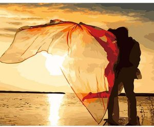 Kiss by the sunset with flyaway scarf