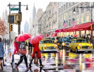 City Hustle Bustle in the rain