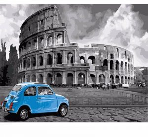 Rome Colleseum with Blue Car