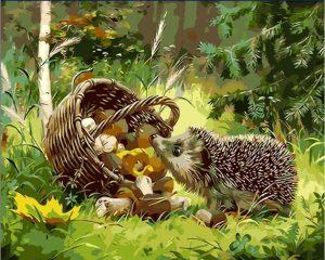 Curious hedgehog with basket