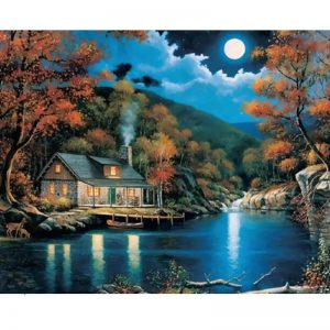 House by the river under the moonlight