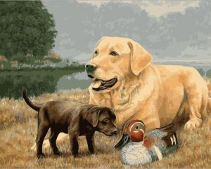 Adult dog and black puppy with duck