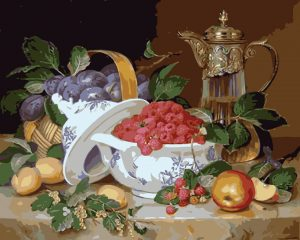 Bowl of raspberries and fruit