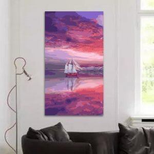 Sailboat at pink sunset (40cm x 80cm)
