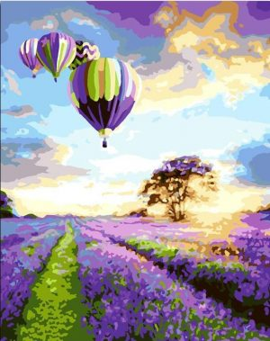 Hot Balloon above lavender field