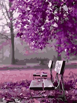 Empty seat under purple forest