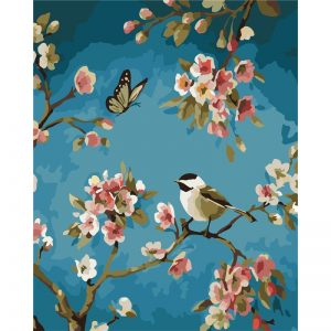 Blossoms against peaceful teal backdrop