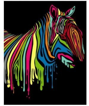 Abstract Colorful Midnight Zebra