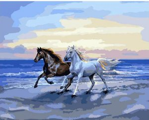 Brown and White Horse running on the sand