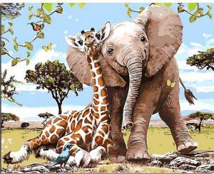 Elephant and Giraffe friends